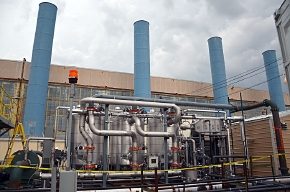 The belowground heating system operates in front of the C-400 Cleaning Building.