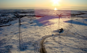 A 900-kW Native-owned wind farm generates 10% of Nome's electricity, reducing dependence on diesel fuel. Photo from Bering Straits Native Corp., NREL 16298