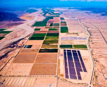 Serving approximately 9,000 homes with clean renewable energy, the Paloma and Cotton Center solar plants highlight the rapidly rising solar corridor in Gila Bend, Arizona.  | Photo courtesy of the town of Gila Bend, Arizona.