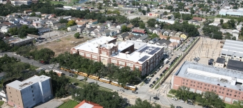 The solar installation at Warren Easton Senior High School was the first of four installations placed on local schools as part of Solar Schools Initiative program. At 28 kW of thin-film, it is the largest installation in the city of New Orleans. | Photo by Garrett Crawford, NREL 18358