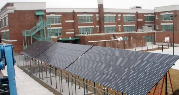 Craig Elementary School, located in New Orleans, installed one of the largest solar systems in the city. | Photo by Emil Albrecht, NREL 18360