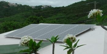 PV panels installed at the Montessori School on St. Thomas, US Virgin Islands. | Photo from Don Buchanan, Virgin Islands Energy Office, NREL 19338