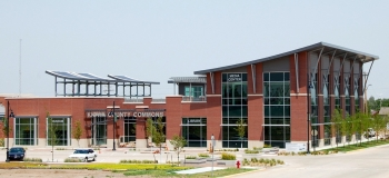The new Kiowa County Commons building replaces the old Kiowa County Library and Historical Museum destroyed by the tornado. The LEED-Platinum designed building features 33 solar panels that will produce 4.6 kilowatts of power.   Photo by Joah Bussert, NREL 19448