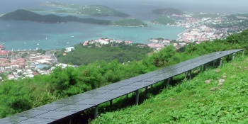 This 10 kW PV system is located on Skyline Road on St. Thomas, overlooking Charlotte Amalie. | Photo by Don Buchanan, NREL 19568