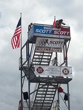 Hanford Fire Department Lt. Anthony Lovato, Jr. performs the 40-pound tower hoisting leg of the Scott Firefighter Combat Challenge in Everett, Wash.