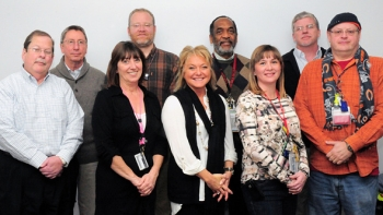Pictured are members of the Portsmouth Site Sustainability Team, including, left to right, Joe Moore, Bob Anderson, Stephanie Puckett, Matt Vick, Lisa Burns, Vince Adams, Stephanie McLaughlin, Frank Johnston, and Ron Shelato. Team members Roger Steckel, Russell McCallister, Roger Coats, Jeff Stone, and Mandy Mayo are not shown.