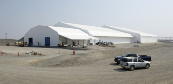 An exterior view of the recently constructed Accelerated Retrieval Project-VIII facility.