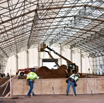 Workers construct a new facility that will help Los Alamos National Laboratory accelerate the shipment of transuranic (TRU) waste to the Waste Isolation Pilot Plant (WIPP) in Carlsbad for permanent disposal.