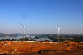These two General Electric wind turbines, erected in January 2011 on the Frey Farm landfill adjacent to Turkey Hill Dairy's ice cream and sweet iced tea plant in Lancaster County, Penn., are expected to produce 7.5 million kWh of electricity annually. | Photo courtesy of Lancaster County Solid Waste Management Authority.