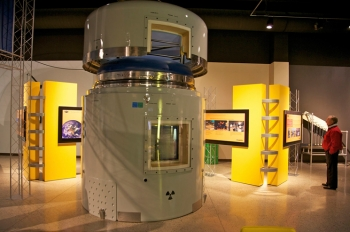 To celebrate the WIPP's 10,000th shipment of defense-related TRU waste, the National Museum of Nuclear Science & History added a new exhibit, which includes one the receptacles, pictured above, used by the Energy Department to ship transuranic (TRU) waste from sites located across the country to the Waste Isolation Pilot Plant in New Mexico. | Photo courtesy of the National Museum of Nuclear Science & History