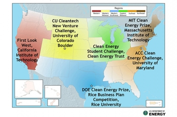 After pitching their business plan to panels of judges at the regional semifinal and final, six teams advanced to the national competition for a chance at the cash grand prize.   Energy Department file graphic.