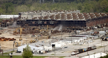 Demolition of Building K-25 was a massive undertaking. When constructed, it was the world's largest building.