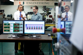 President Barack Obama tours the University of Miami Industrial Assessment Center in Miami, Florida, Feb. 23, 2012. The IAC is where students learn how to become industrial energy-efficiency experts as they help small to mid-sized manufacturers reduce their energy costs. | Official White House Photo by Chuck Kennedy.