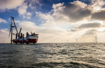 Douglas-Westwood collected data on vessels currently deployed in the international offshore wind industry, like the one pictured here at the London Array in the United Kingdom. Photo by London Array Limited