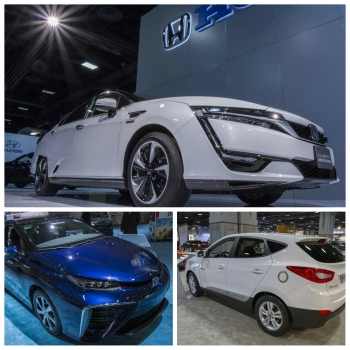 Toyota's Mirai, Hyundai's Tucson, and Honda's Clarity, the first commercially available fuel cell electric vehicles (FCEVs) in the United States. They are currently on display at the 2016 Washington Auto Show | Photos by Simon Edelman, Energy Department