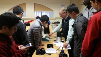 Dr. Charlie Curcija of Lawrence Berkeley National Laboratory training University of Pretoria postgraduate and laboratory personnel on cool surfaces testing. | Photo courtesy of EERE International