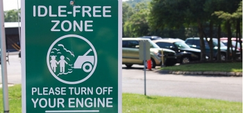 Turning off your engine while waiting in the parking lot is a great way to save money on gas.   Photo courtesy of Kristy Keel-Blackmon, NREL/21196.