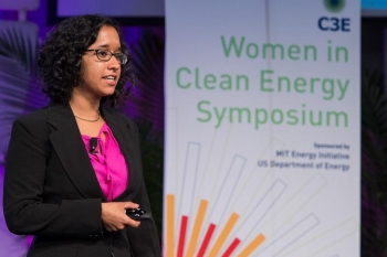 """Priyanka Chatterjee, a junior studying Mechanical & Ocean Engineering, speaks about Solar """"Float""""ovoltaics during the undergraduate lightning presentation session.   Photo by Justin Knight."""