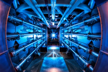 The preamplifiers of the National Ignition Facility are the first step in increasing the energy of laser beams as they make their way toward the target chamber. NIF recently achieved a 500 terawatt shot - 1,000 times more power than the United States uses at any instant in time. | Photo by Damien Jemison/LLNL