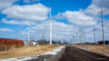 Mid-Sized Distributed Wind: Two mid-sized wind turbines in operation at Wayne Industrial Sustainability Park in Ontario, New York. | Photo courtesy of Sustainable Energy Developments, Inc.