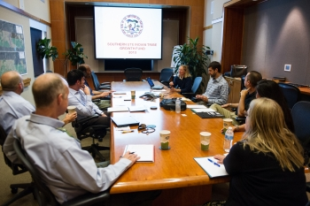 START Program team members from NREL meet with representatives from the Southern Ute Tribe and Southern Ute Alternative Energy. Photo by Dennis Schroeder, NREL