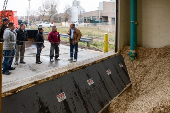 Touring NREL's Integrated Biorefinery Research Facility. From left to right: Otto VanGeet, NREL, Jeremy Laselute, Zuni Pueblo, Colton Heaps, NREL, Reyna Banteah, Zuni Pueblo, Shaun Tsabetsaye, Zuni Pueblo, and Chris Gaul, NREL. Photo by Dennis Schroeder, NREL