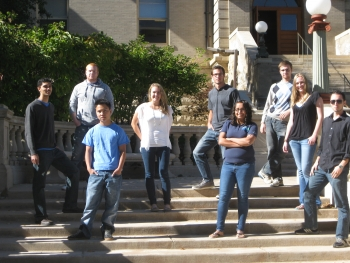 <strong>COLORADO SCHOOL OF MINES</strong> Back row: Alex Dell, Zachary Weber, Aaron Troyer, Cabe Bonner, Jeremy Webb. Front row: Katherine Rooney, Jyotsana Gandhi, Kevin Tan, Kelsey Wokasch.  | Photo courtesy of Colorado School of Mines