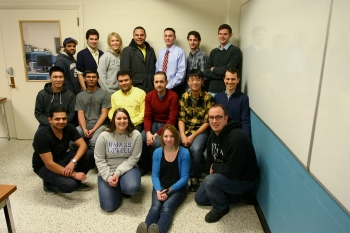 <strong>UNIVERSITY OF MASSACHUSETTS LOWELL</strong> Back row: Isaac Grulon, Dean Kennedy, Erika Sjoberg, Albert Andino, Robert Leboeuf, Gregory Lennartz, Michael Dube. Middle row: David Phung, Jigar Patel, Alexandre Sampaio, Patrick Logan, Jeffrey Chung, Peter Jones. Front row: Parth Patel, Donna DiBattista, Meaghan Riley, Michael Schaefer. Not pictured: Christopher Daly, Erik Anderson. Credit: David Willis