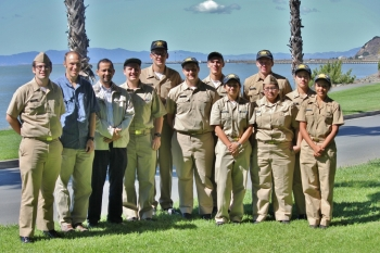 <strong>CALIFORNIA MARITIME ACADEMY</strong> From left to right: Ramiro Parocua, Tom Nordenholz, Khalid Bachkar, Alexander Calder, Glenn Fuller, Gerald Spencer, Eric Johnson, Sasha Barnett, Henry Seel, Jennifer Ramos Ortiz, Ian Medina, Grace Paranjape. | Photo courtesy of California Maritime Academy