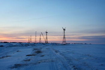 Wind turbines installed in Kwigillingok, Alaska, as part of the Chaninik Wind Group Multi-Village Wind Heat Smart Grid Project. Photo from Intelligent Energy Systems, NREL 29204