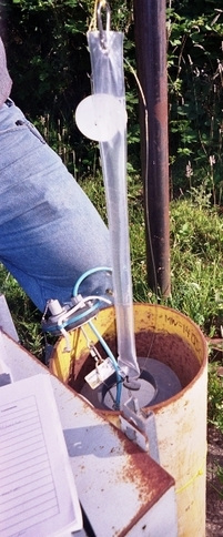 A passive sampler is placed in a groundwater monitoring well.