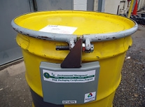 The radiofrequency identification technology EM's James Shuler developed is shown here, attached to a waste shipment.