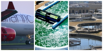"""Innovations are moving the bioenergy industry forward. Photos courtesy of Virgin Atlantic (left), Sapphire Energy, Inc. (center), and DC Water's Blue Plains Advanced Wastewater Treatment Plant (right). Watch the video <a href=""""https://www.youtube.com/watch?v=S9HONJ0g9Dc"""" target=""""_blank"""">Bioenergy Innovation</a> to hear bioenergy researchers explain what """"bioenergy innovation"""" means to them."""