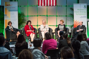 Energy Technology and Innovation panelists discussed ways to move game-changing energy technology from the lab to the marketplace. From left: Renata Mele of the Enel Foundation; Alla Weinstein of Principle Power, Inc.; Marilyn Brown from the Georgia Institute of Technology; Cheryl Martin of ARPA-E; and MIT Energy Initiative Director Robert Armstrong (moderator). | Photo by Justin Knight.