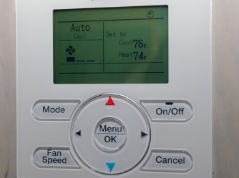 Save up to 10% each year on heating and cooling bills by turning back the thermostat 7°-10°F for 8 hours a day.| Photo courtesy of Thomas Kelsey/U.S. Department of Energy Solar Decathlon