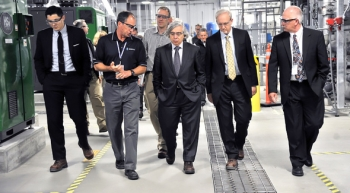 Energy Secretary Ernest Moniz tours the 200 West Pump and Treat System, which treats chemical and radionuclide contamination in Hanford's groundwater. Pictured, left to right, are Special Assistant to the Secretary Mark Appleton, Bob Popielarczyk of CH2M HILL Plateau Remediation Company, Special Assistant to the Secretary T.J. Augustine, Secretary Ernest Moniz, EM Senior Advisor Dave Huizenga and DOE Richland Operations Office Deputy Manager Doug Shoop.
