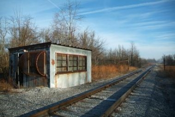 This railroad scale house, in West Kentucky Wildlife Management Area east of the Paducah site, was usedin the 1950s to weigh Paducah Gaseous Diffusion Plant freight. Workers preserved the old scale because of its potential historical significance. The scale house was demolished.