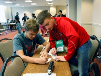Josh Betts and Hudson Elliott of the Calloway County High School team participate in the High School Division Team Challenge Competition during the 2014 National Science Bowl, Friday April, 25, 2014, in Washington, DC.