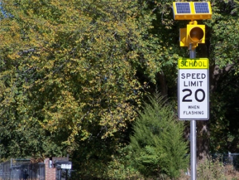 Solar-powered flashing LED beacons are making Bethany, OK, schoolchildren safer by reminding drivers to abide by posted school-zone speeds. | Photo Courtesy of Bethany, OK |