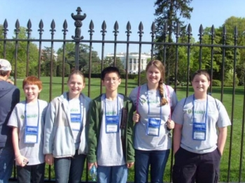 The Calloway County Middle School team poses in front of the White House. Students also visited the Smithsonian Institution and the  National Archives. From left are Marshall Thompson, Joza Mikulcik, Michael Okuda, Claire Umstead, and Chauncy Roberts.