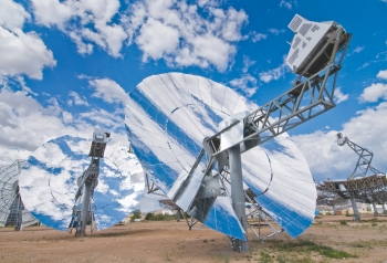 These solar power collection dishes at Sandia National Labs' National Solar Thermal Test Facility are capable of some of the highest solar to electricity conversion. In January 2008, this technology set a new solar-to-grid system conversion efficiency record of 31.25 percent net efficiency rate; the technology is still available to benefit the U.S. by delivering power at all hours of the day by implementing thermal energy storage. CSP with storage provides important benefits to integrate more renewable energy to our electric power supply by mitigating resource variability and satisfying peak demand after sunset.  | Photo courtesy of Sandia National Laboratories.