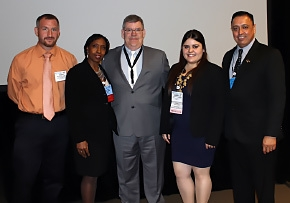 "DOE Fellow Gabriela Vazquez, second from right, is pictured with other members of the panel session titled, ""Graduating Students and New Engineers- Wants and Needs."""