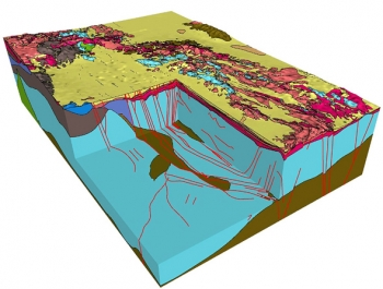 In this model example, each geologic unit is represented by a different color. The red lines represent faults.