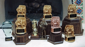 Trophies won by the WIPP mine rescue teams at the 2013 Southwest Regional Mine Rescue Competition in Taos, N.M.