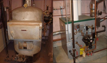 Before and after shots of a new boiler system | courtesy of the Office of Weatherization and Intergovernmental Programs