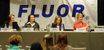 Pictured here are the panel speakers, left to right, Malgorzata Sneve, Director for Regulatory Cooperation Programme, Norwegian Radiation Protection Authority; Roxie Schescke, President, Indian Eyes LLC; Dr. Monica Regalbuto, DOE Office of Nuclear Energy (NE) Deputy Assistant Secretary for Fuel Cycle Technologies; and Dr. Kathryn McCarthy, Director of NE's Light Water Reactor Sustainability Program Technical Integration Office.