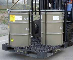 These drums containing radioactive waste from uranium enrichment operations were included in the Portsmouth site's first shipment to WCS.