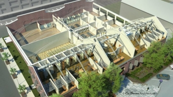 This model of a renovated historic building -- Building 661 -- in Philadelphia will house the Energy Efficient Buildings Hub. The facility's renovation will serve as a best practices model for commercial building design, historic adaptive re-use, and energy efficiency innovation through continuous retrofit.