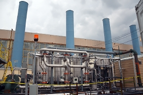 The treatment system operates in front of the C-400 Cleaning Building.