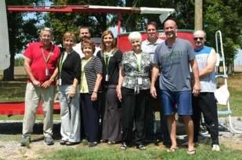 From left: Richard Hayden, St. Vincent de Paul; Heidi Suhrheinrich, Paducah Cooperative Ministry; Lt. Joe Crawford, Salvation Army; Shirley Barlow, River City Mission; Pam Truitt, Family Service Society; Martha Bell, Martha's Vineyard; and Reinhard Knerr, Dave Dollins, and James Johnson, DOE Paducah Site Office.